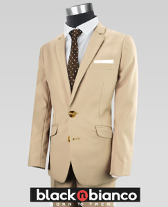 Black n Bianco Boys Khaki Suits