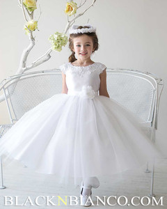 White Tulle and Satin Flower Girl Dress