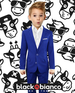 Black n Bianco First Class Slim Fit Suit in Blue