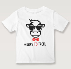 Black N Bianco Born To Trend White Graphic Tees for Boys.