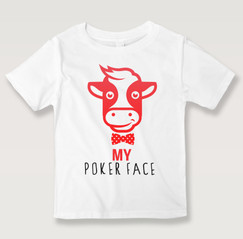 Black N Bianco Smiling Baby Calf White T-shirt For Kids. Poker Face