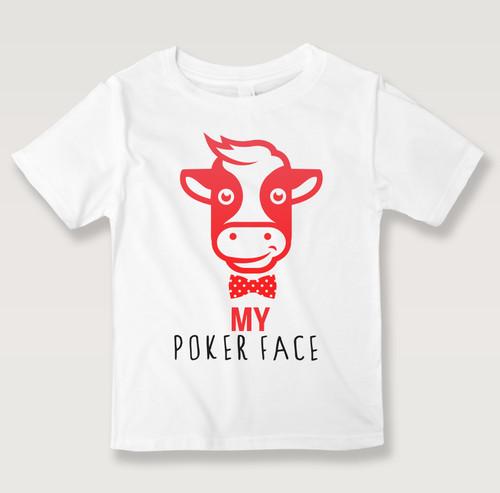Black N Bianco Smiling Baby Calf White T-shirt For Kids. Poker Face