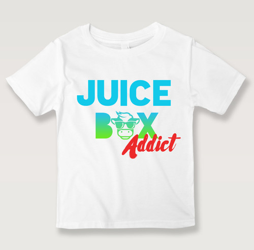 Cute little White T-shirt for all the little kids and toddlers who love their juice box! Juice Box Addict!