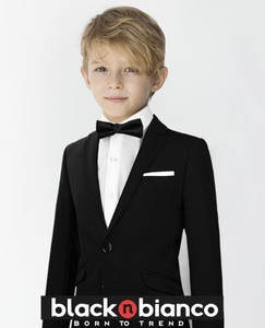 Handsome Little Boy Sporting his Black N Bianco Signature Slim Tuxedo Suit with a Slim Bow Tie