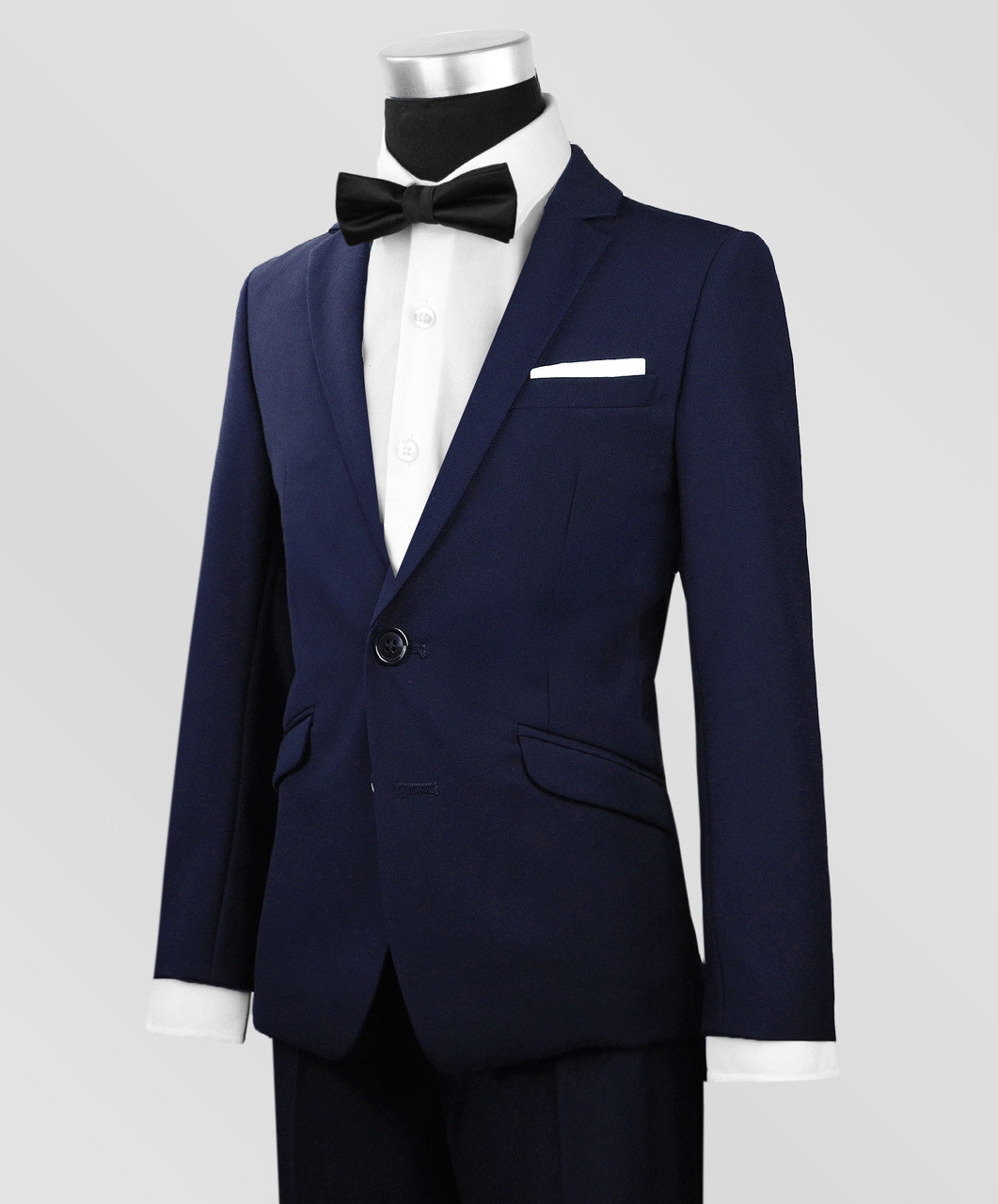 93900cf48664 Black N Bianco Signature Boys Slim Navy Tuxedo with Bow Tie