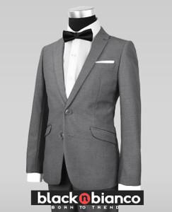 Black N Bianco Signature Boys Slim Dark Grey Tuxedo Suit with Bow Tie