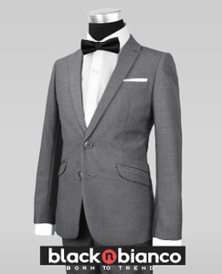 Black N Bianco Signature Boys Slim Dark Grey Tuxedo Suit with Bow Tie
