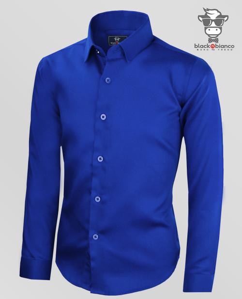 Boys Sateen Royal Blue Long Sleeve Dress Shirt. Signature Series by Black N Bianco