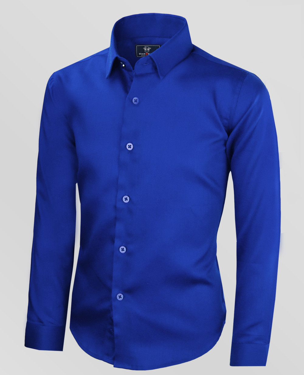 Black N Bianco Boys Signature Sateen Dress Shirt In Blue