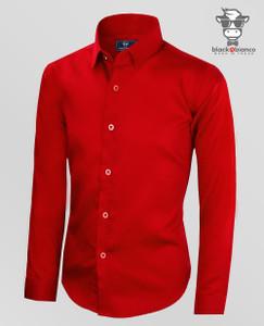 Boys Red Long Sleeve Dress Shirt. Sateen Material.