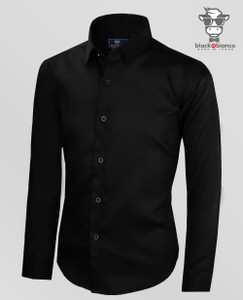 Boys Button Down Long Sleeve Dress Shirt in Black. Sateen Material