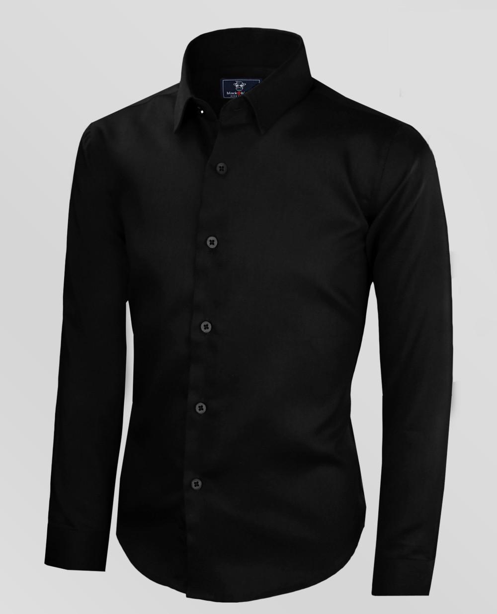 Black N Bianco Boys Signature Sateen Black Button Down Dress Shirt