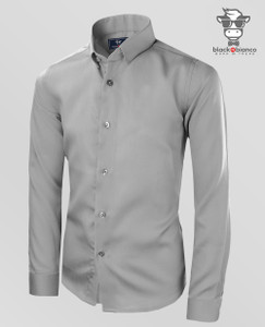 Boys Button Down Gray Shirts Sateen Material.