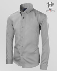 Boys Button Down Gray Shirts Sateen Material.