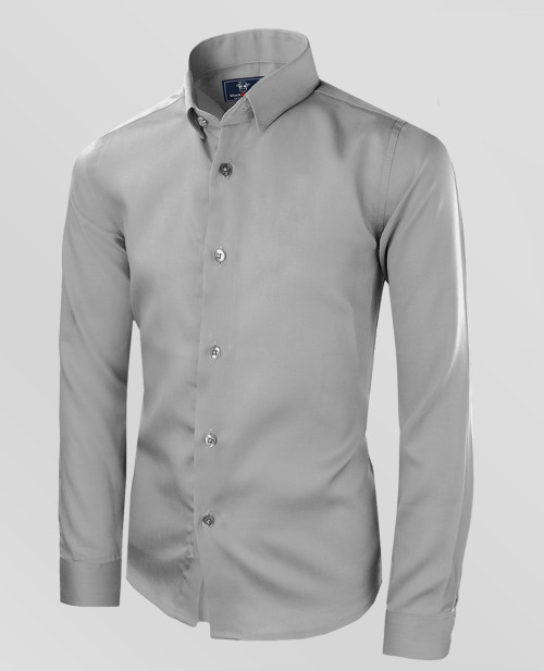Boys Sateen High Quality Gray Dress Shirt