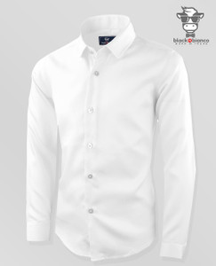 Black N Bianco Boys' Signature White Sateen Long Sleeve Dress Shirt