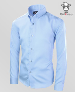 Black N Bianco Signature Boys' Light Blue Sateen Dress Shirt.