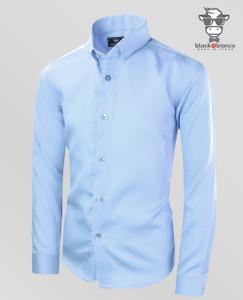 Black N Bianco Signature Boys' Light Blue Sateen Dress Shirt.