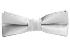Black n Bianco Boys' Silver Slim Bow Tie