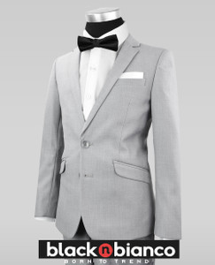 Black n Bianco Boys Signature Slim Gray Tuxedo Suit