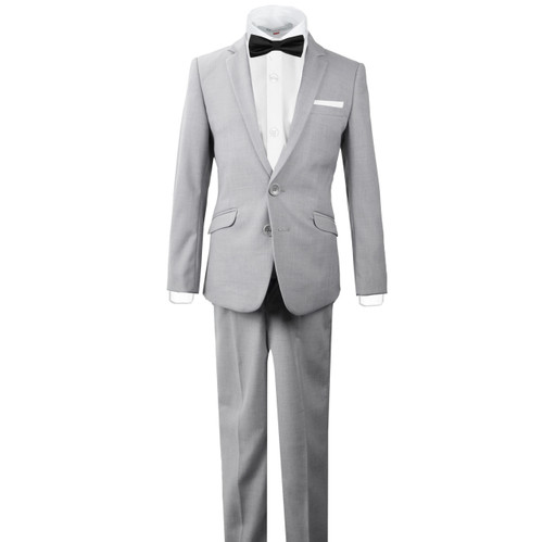 Black n Bianco Slim Fit Signature Kids Light Gray Tuxedo Suit