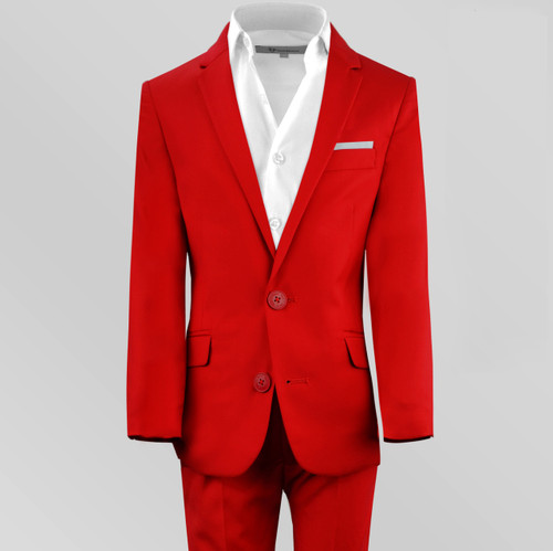 Black n Bianco Boys First Class Slim Fit Suit in Red