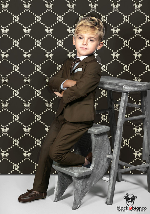 Black n Bianco Boys' Brown First Class Slim Fit Suit