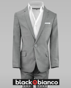 Black n Bianco First Class Slim Fit Rustic Gray Suit
