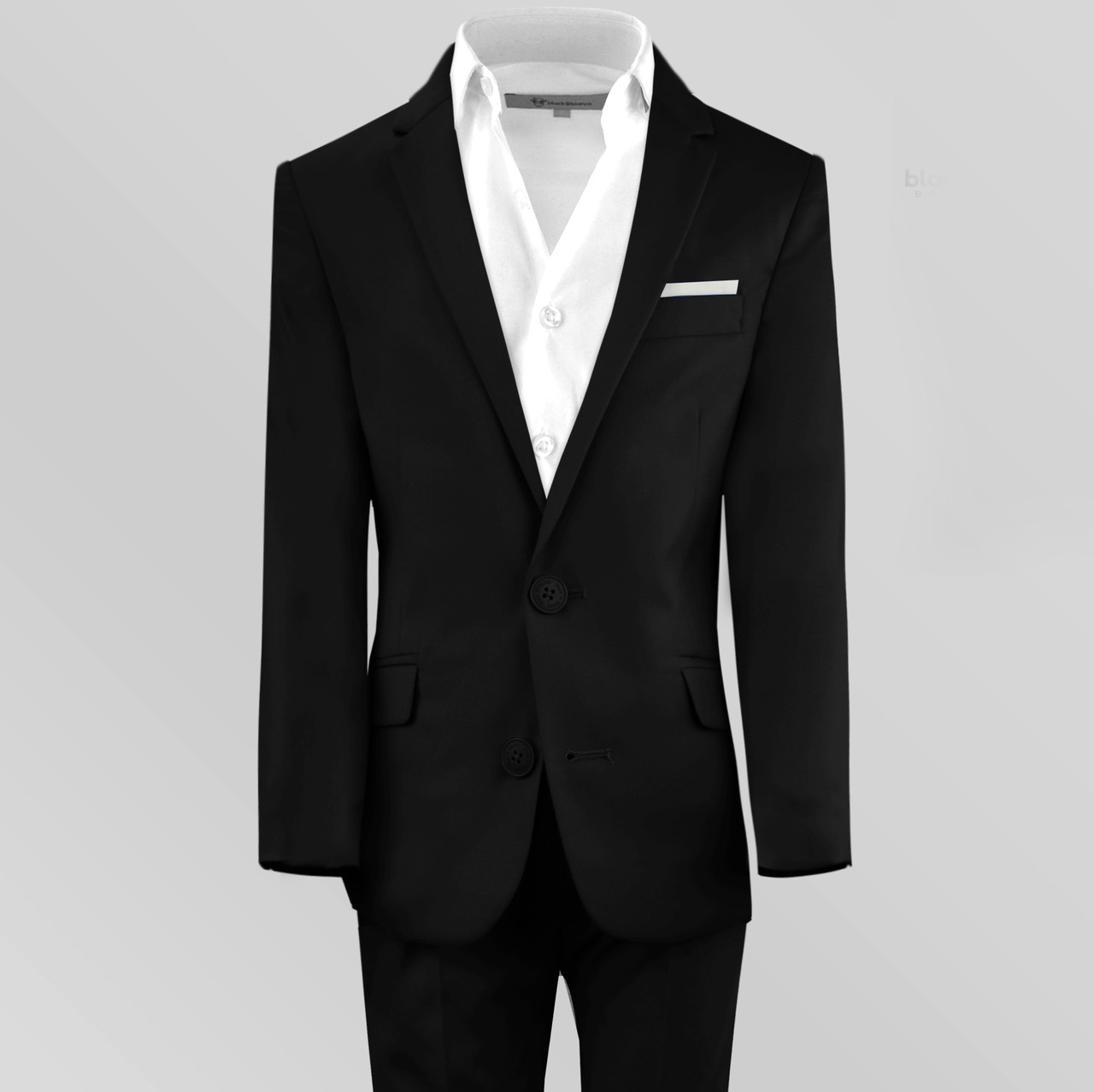949c3f555 Black n Bianco First Class Midnight Black Slim Fit Suit for Boys and ...
