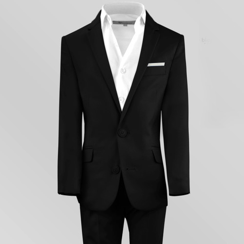 Black n Bianco Slim Fit First Class Boys Suits in Black