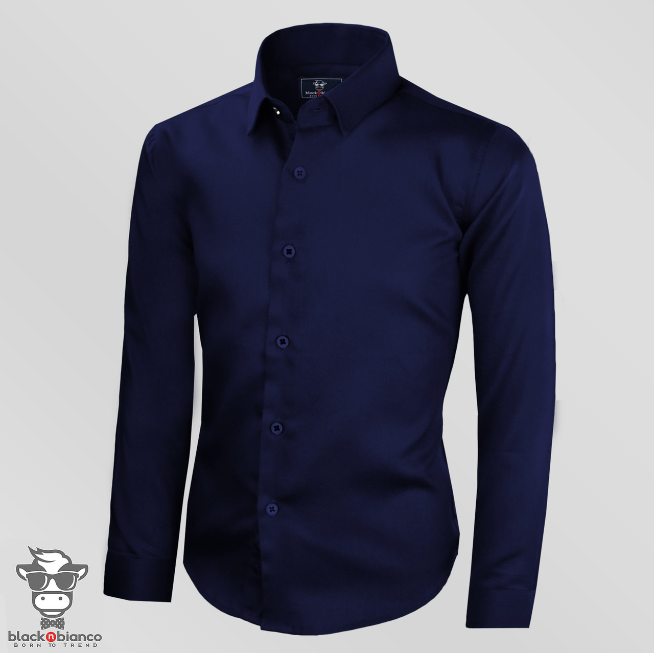 dc583c9987a Boys Navy Sateen Dress Shirt. Boys Navy Sateen Dress Shirt. Black n Bianco  Signature Slim Fit Navy Sateen ...