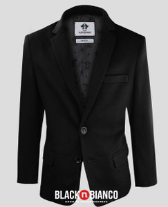 Black n Bianco Boys' Twill Black Blazer Jacket