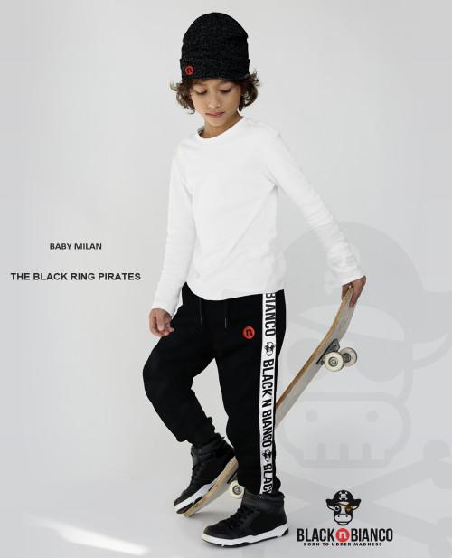 Black n Bianco Boys' Streetwear Pirate Black Sweatpant Joggers