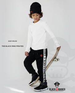 Black n Bianco Boys' Streetwear Pirate Black Sweatpant Joggers