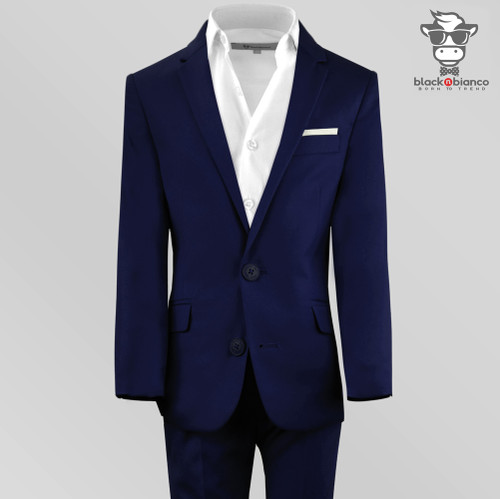 Black n Bianco Navy Slim Fit Suit in First Class Style