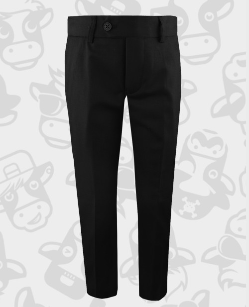 Black n Bianco Flat Front Slim Fit Trousers for Boys.