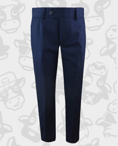 Black n Bianco Slim Fit Flat Front Trousers in Navy