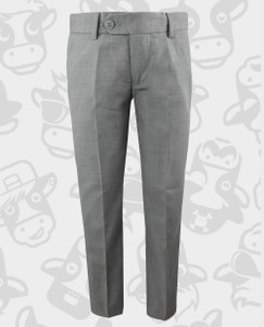 Black n Bianco First Class Slim Fit Flat Front Trousers in Rustic Gray