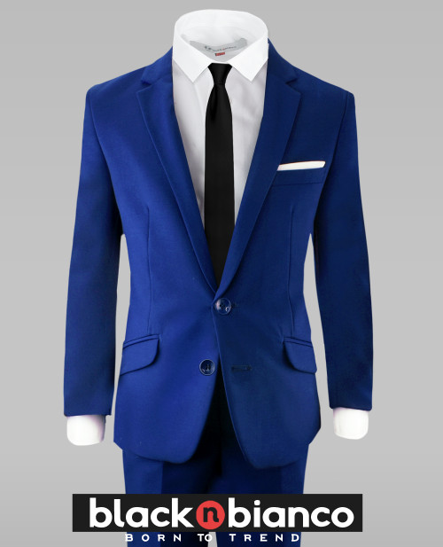 Black n Bianco Boys Royal Blue Slim Fit Suit