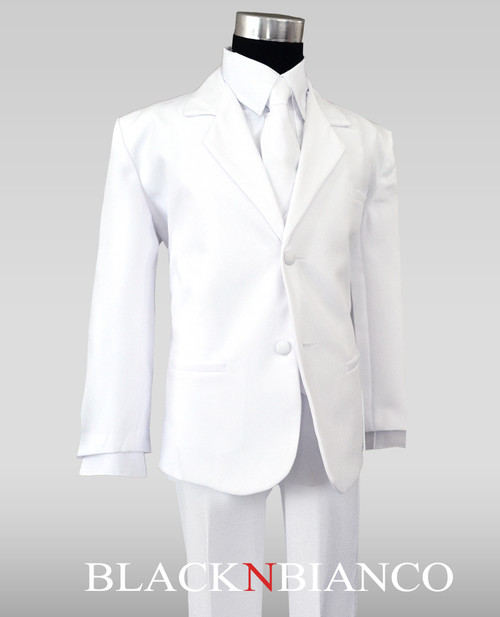 Boys Toddlers White Suit BlackNBianco