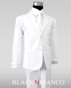 Children's Boys White Formal Suit Black N Bianco