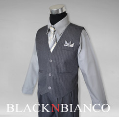 Boys Traditional Pinstripe Suit in Grey