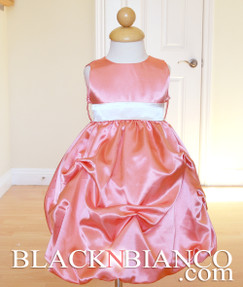Coral Flower Girl Pageant Wedding Dress