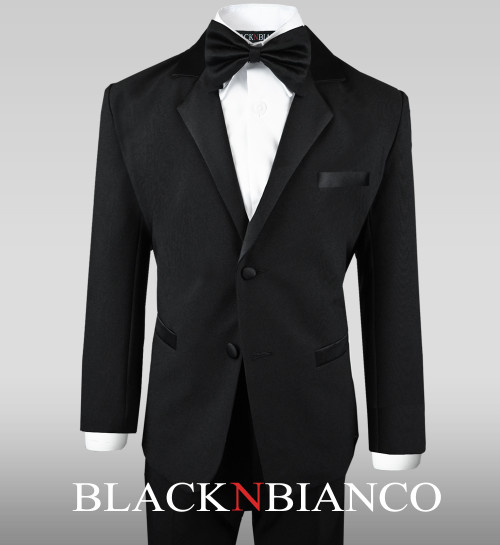 Black Wedding Tuxedo Dresswear Outfit Set with Bow Tie