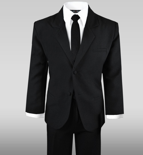 Black N Bianco Boys Suit in Black with a Long Black neck tie