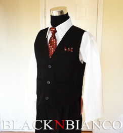 Black N Bianco Boys Vest Suit