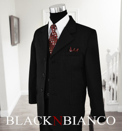 Boys Black Pinstripes Suit with Dark Red Burgundy Tie Black N Bianco