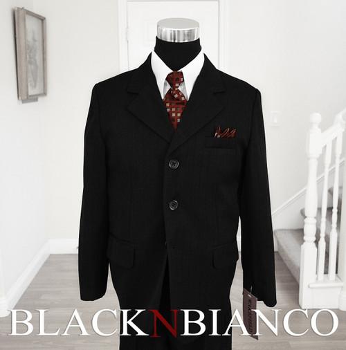 Boys Black Pinstripes Suit with Dark Red Burgundy Tie Black N Bianco