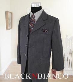 Gray Pinstripes Boys Suit with dark gray tie Black N Bianco
