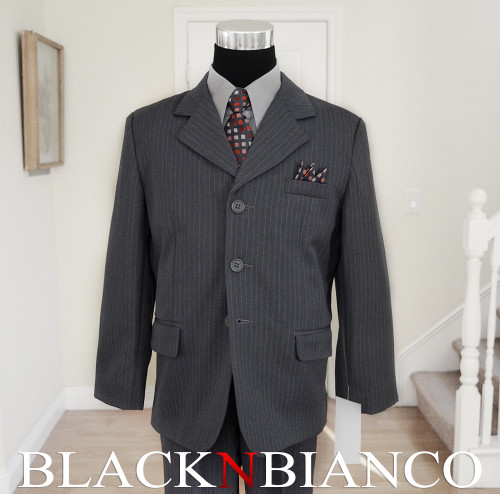 Gray Pinstripes Boys Suit with dark gray tie Black N Bianco